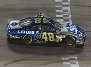 Pit Mixed Media Prints - Jimmie Johnson Wins Print by Paul Kuras