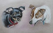 Brown Dogs Pastels - Jimmy and Pip by Lucy Deane