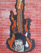 Jimmy Hendrix Paintings - Jimmy Hendrix And Guitar by Jeepee Aero