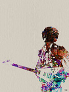 Rock And Roll Band Prints - Jimmy Hendrix with guitar Print by Irina  March