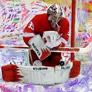Hockey Goalie Paintings - Jimmy Howard 2 by Donald Pavlica