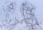 Guitar Drawings Posters - JIMMY PAGe and ROBERT PLANT live concert-pen portrait Poster by Fabrizio Cassetta
