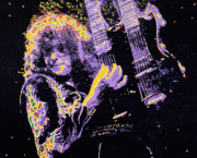 Robert Plant Print Posters - Jimmy Page Poster by Barry Novis