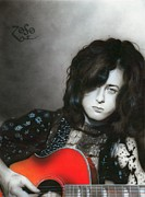 Musician Framed Paintings - Jimmy Page by Christian Chapman Art