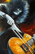 Zeppelin Guitarist Painting Originals - Jimmy Page Dazed And Confused by Mike Underwood