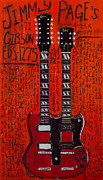 Led Zeppelin Paintings - Jimmy Page Gibson EdS 1275 by Karl Haglund