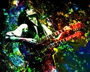 Jimmy Page - Led Zeppelin - Original Painting Print Print by Ryan RockChromatic