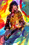Led Zeppelin Painting Metal Prints - JIMMY PAGE LEDs LEAD Metal Print by David Lloyd Glover