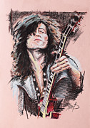 Celebrities Pastels Posters - Jimmy Page Poster by Melanie D