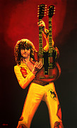 Single Painting Framed Prints - Jimmy Page Framed Print by Paul  Meijering