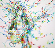 Led Zeppelin Painting Prints - JIMMY PAGE PLAYING THE GUITAR - watercolor portrait.1 Print by Fabrizio Cassetta