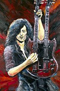 Zeppelin Guitarist Painting Originals - Jimmy Page The Song Remains The Same by Mike Underwood