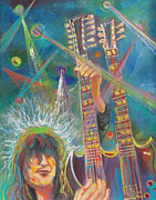 Stairway To Heaven Painting Posters - Jimmy Page Poster by To-Tam Gerwe
