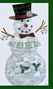 Season For Blessings Card Posters - Jingle Bells Snowman Poster by Debra     Vatalaro