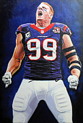 Bulls Painting Originals - JJ Watt 24x36 by Absolon Moreau