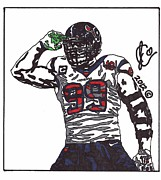Sports Art Drawings Posters - JJ Watt Poster by Jeremiah Colley