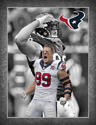Houston - Texas Posters - Jj Watt Texans Poster by Joe Hamilton