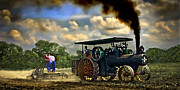 Greyhound Photos - Jl Case 65hp Steam Tractor Plowing by F Leblanc