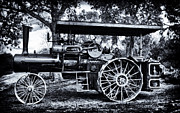 Greyhound Photos - JL CASE STEAM TRACTOR B and W by F Leblanc