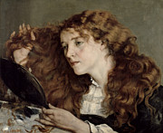 Make-up Girl Posters - Jo the Beautiful Irish Girl Poster by Gustave Courbet