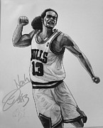 Nba Drawings Framed Prints - Joakim Noah Framed Print by Adam Barone