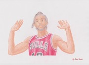 Noah Drawings Framed Prints - Joakim Noah Framed Print by Toni Jaso
