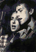 Joan Baez And Bob Dylan Print by Paulette B Wright