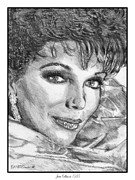 Grey Drawings Framed Prints - Joan Collins in 1985 Framed Print by J McCombie
