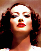 Glamor Painting Framed Prints - Joan Crawford Framed Print by Zeana Romanovna