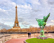 Tour Eiffel Photo Posters - Joan of Arc and the Eiffel Tower Poster by Mark E Tisdale