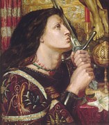 Liberation Painting Prints - Joan of Arc Kisses the Sword of Liberation Print by Dante Gabriel Rossetti