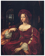 Lady In Red Painting Framed Prints - Joanna of Aragon Framed Print by Raphael