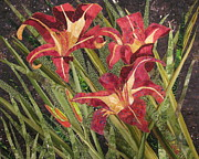 Fabric Collage Tapestries Textiles Prints - Joans Daylilies Print by Lynda K Boardman