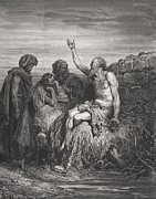Friends Drawings - Job and his Friends by Gustave Dore