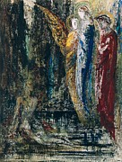 Three Angels Posters - Job and the Angels Poster by Gustave Moreau