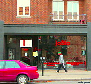 Hot Dog Joints Prints - Joblo Restaurant Steakhouse Rue Wellington Verdun Montreal Cafe City Scenes Carole Spandau Print by Carole Spandau