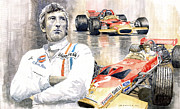 Watercolor  Paintings - Jochen Rindt Golden Leaf Team Lotus Lotus 49b Lotus 49c by Yuriy  Shevchuk