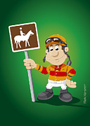 Jockey Posters - Jockey Cartoon Man Horse Trail Sign Poster by Frank Ramspott