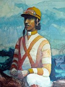 Horserace Paintings - Jockey by Dan Strand
