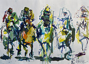 Abstract Horse Prints - Jockeys and race horses Print by Robert Joyner