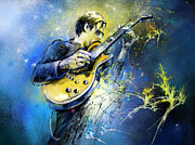 Music Mixed Media Framed Prints - Joe Bonamassa 01 Framed Print by Miki De Goodaboom