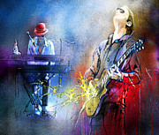 Pianists Prints - Joe Bonamassa and His Pianist Print by Miki De Goodaboom