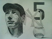 Joe Di Maggio Drawings - Joe di maggio by Chris Lambert