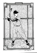 Baseball Drawings Posters - Joe DiMaggio  Poster by Ira Shander