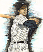 Yankees Painting Originals - Joe DiMaggio by Jeff Gomez