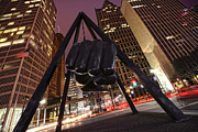 Jla Prints - Joe Louis Fist Statue Detroit Michigan Night Time Shot Print by Gordon Dean II