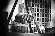 Detroit Tigers Art Digital Art Framed Prints - Joe Louis Fist Statue in Monochrome Framed Print by Gordon Dean II