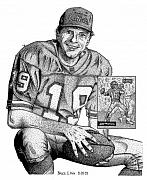 Quarterback Drawings - Joe Montana by Bruce Kay