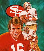 Pro Sports Framed Prints - Joe Montana Framed Print by Dick Bobnick