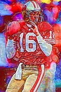 Football Mixed Media - Joe Montana  by DJ Fessenden